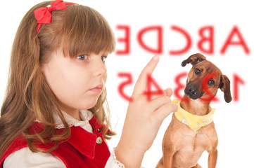 Girls trained dog