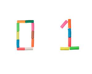 Plasticine alphabet Numbers (0,1)