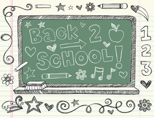Chalk Board back to School Sketchy Doodles Vector