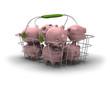 économiser, panier d'achat et piggy banks