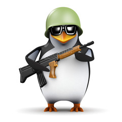 3d Penguin Soldier marching forward