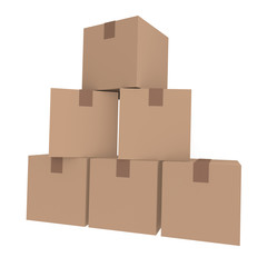 Cardboard boxes on white, 3D image