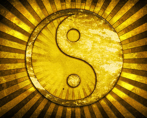 Gold yin yang symbol