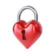 Heart padlock , isolated on white