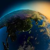 Fototapete Europa - Nacht - Landkarte / Globus