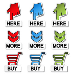 Vector pointer stickers - here, more, buy