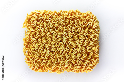 block of Instant noodles on white background