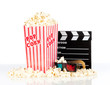 popcorn box with 3d movie glasses on a white background