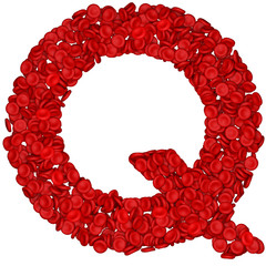 Letter - Q made from red blood cells. Isolated on a white.