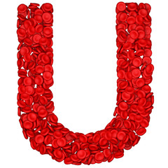 Letter - U made from red blood cells. Isolated on a white.