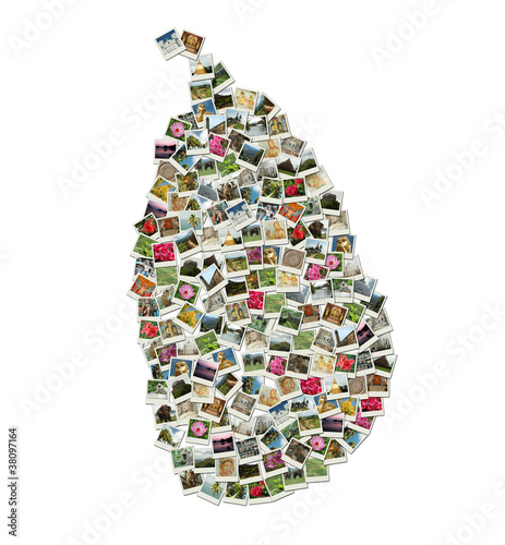 Map of Sri Lanka - collage made of travel photos
