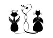Silhouettes of two cats. Angel and devil
