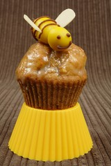 marzipan bee on a honey muffin