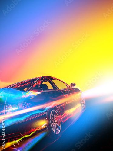 High-speed burning car - 38097785