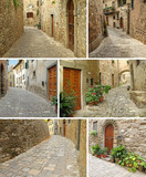 collage with picturesque paved narrow streets and houses, Montef