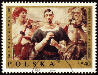 Canvas of Polish artist Jacek Malczewski on post stamp