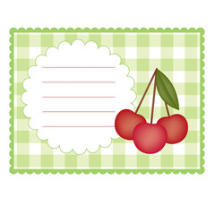 Blank checkered card with cherry
