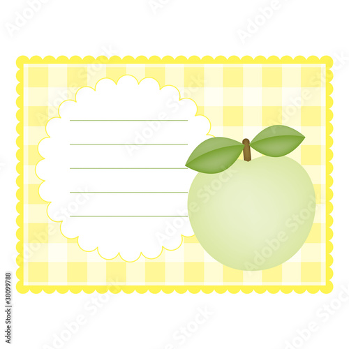 Blank checkered card with apple
