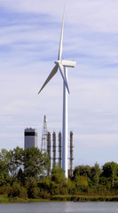 Wind Turbine At Nuclear Power Plant