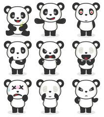 Various panda cartoon character