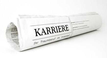 Karriere Zeitungsrolle auf weiß isoliert