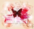 farfalla con biglietto e sfondo grunge
