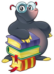 Mole with books. Cartoon and vector isolated character