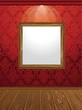 wooden frame on the wall - vector