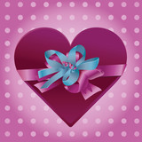present - heart with beautiful ribbon - vector illustration