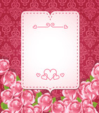 abstract love banner with roses and pattern