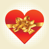beitiful heart with golden ribbon - vector illustration