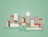 background with vector city- illustration