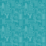 blue seamless city pattern - vector illustration