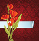 abstract banner with flowers and pattern
