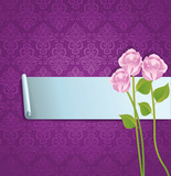 abstract banner with roses and pattern - vector illustration