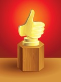 vector golden best choice award on wooden pedestal