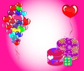 Поздравительная открытка с воздушными шарами и подарками