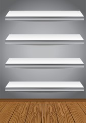 four empty shelves on a wall - vector illustration