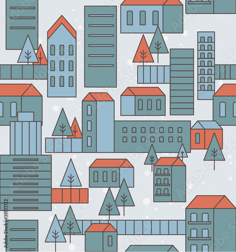 seamless city pattern - vector illustration