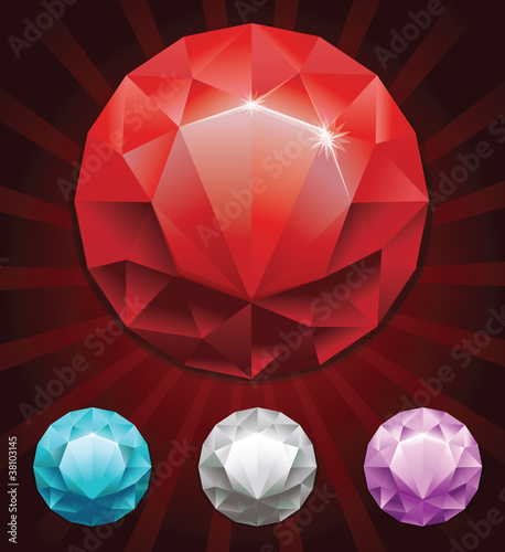 set of round diamonds in 4 colors - vector illustration