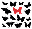 Butterfly silhouettes collection isolated in white background