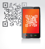 mobile phone with qr code - vector illustration