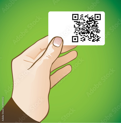 hand holding card with qr-code
