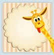 Cute giraffe on decorative background - birthday invitation