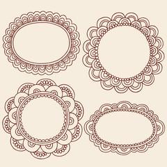 Henna Mehndi Picture Frames Vector