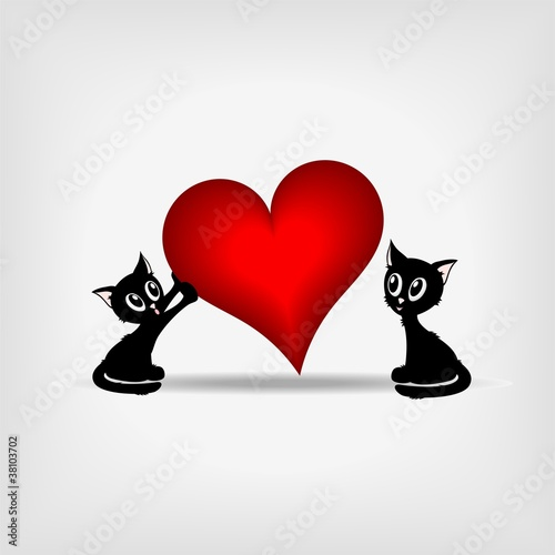 two black kittens and big red heart - vector illustration