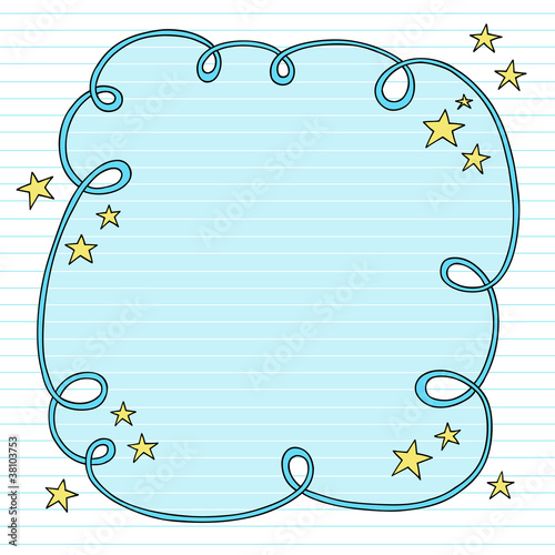 Notebook Doodle LIned Paper Frame Border Vector