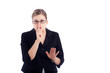 Business woman gesturing silence sign