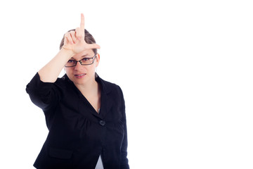 Business woman gesturing loser sign