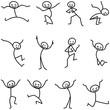 Strichmännchen, fröhlich, springend